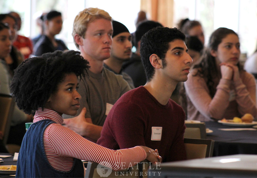 """April 6th, 2017- The Seattle University Student Government hosts a discussion about """"Moral Responsibility in an Intersectional World,"""" during a student-led Mission Day in Campion Ballroom."""