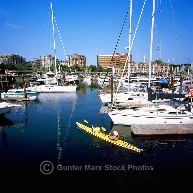 Vancouver, BC, British Columbia, Canada - Pleasure Boats docked at Marina in False Creek at Granville Island