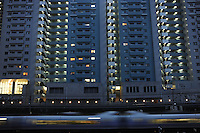 Trains pass a typical apartment building in Tokyo. Tokyo is the most populated metropolitan area with 35 million people.<br /> <br /> Richard Jones  /  Sinopix