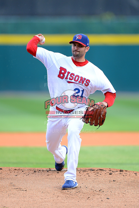 Buffalo Bisons starting pitcher Justin Germano (21) during a game against the Pawtucket Red Sox on August 4, 2013 at Coca-Cola Field in Buffalo, New York.  Pawtucket defeated Buffalo 8-1.  (Mike Janes/Four Seam Images)