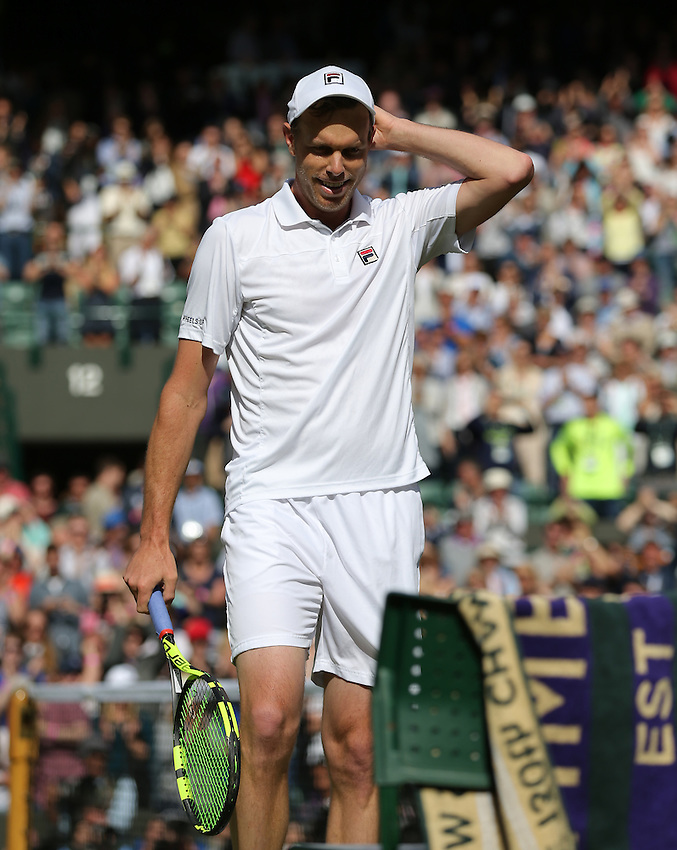 Sam Querrey of USA celebrates his victory over Novak Djokovic of Serbia in their Gentlemen's Singles Third Round match today<br /> <br /> Photographer Stephen White/CameraSport<br /> <br /> Tennis - Wimbledon Lawn Tennis Championships - Day 6 - Saturday 2nd July 2016 -  All England Lawn Tennis and Croquet Club - Wimbledon - London - England<br /> <br /> World Copyright &copy; 2016 CameraSport. All rights reserved. 43 Linden Ave. Countesthorpe. Leicester. England. LE8 5PG - Tel: +44 (0) 116 277 4147 - admin@camerasport.com - www.camerasport.com