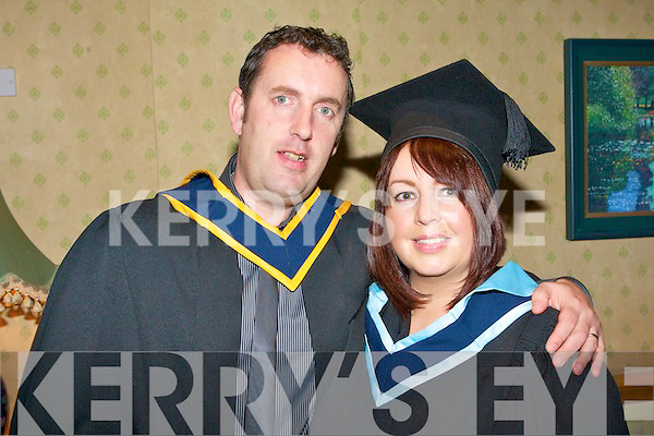 Husband and wife team John and Kathryn Smith, Upper Rock Street, Tralee who both graduated from Tralee IT John with a B.S. in Computing and Software Development and Kathryn with a B.A. in Folk Theater at their graduation ceremony at the Brandon Hotel on Friday.