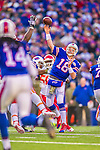 9 November 2014: Buffalo Bills quarterback Kyle Orton makes a forward pass in the fourth quarter against the Kansas City Chiefs at Ralph Wilson Stadium in Orchard Park, NY. The Chiefs rallied with two fourth quarter touchdowns to defeat the Bills 17-13. Mandatory Credit: Ed Wolfstein Photo *** RAW (NEF) Image File Available ***