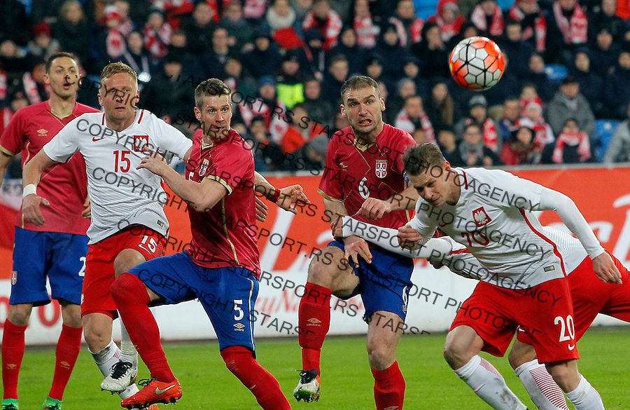 Slobodan Rajkovic Branislav Ivanovic Poljska - Srbija prijateljska, Poland - Serbia friendly football match, March 23. 2016. Poznan  (credit image & photo: Pedja Milosavljevic / STARSPORT)