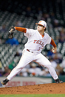 Texas Longhorns starting pitcher Dillon Peters #32 delivers a pitch to the plate against the Rice Owls at Minute Maid Park on February 28, 2014 in Houston, Texas.  The Longhorns defeated the Owls 2-0.  (Brian Westerholt/Four Seam Images)