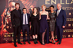 """Australian actor Liam Hemsworth and the US actors Jennifer Lawrence and Josh Hutcherson pose for photographers as they arrive to the premiere of their movie """"The Hunger Games: Catching Fire"""" at Callao Cinema in Madrid, Spain.. November 13, 2013. (ALTERPHOTOS/Victor Blanco)"""