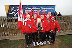 21 NOV 2011: The University of Wisconsin celebrates their national title following the Division I Men's Cross Country Championship held at the Wabash Valley Family Sports Center in Terre Haute, IN. University of Wisconsin won the team national title. Brett Wilhelm/NCAA Photos.