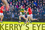 Pa Kilkenny Kerry in action against James Loughrey Cork in the National Football League at Pairc Ui Rinn, Cork on Sunday.