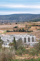 Mont Tauch Cave Cooperative co-operative In Tuchan. Fitou. Languedoc. The winery building. Outside tanks. Stainless steel fermentation and storage tanks. France. Europe.