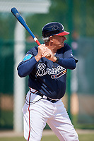 Atlanta Braves Rocket Wheeler during practice before a minor league Spring Training game against the Pittsburgh Pirates on March 13, 2018 at Pirate City in Bradenton, Florida.  (Mike Janes/Four Seam Images)