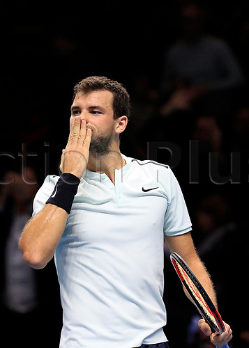 18th November 2017, O2 Arena, London, England; Nitto ATP Tennis Finals;Grigor Dimitrov (BUL) celebrates his victory after the match with Jack Sock (USA)