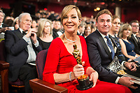 Allison Janney poses with the Oscar&reg; for performance by an actress in a supporting role for work on &ldquo;I, Tonya&rdquo; during the live ABC Telecast of The 90th Oscars&reg; at the Dolby&reg; Theatre in Hollywood, CA on Sunday, March 4, 2018.<br /> *Editorial Use Only*<br /> CAP/PLF/AMPAS<br /> Supplied by Capital Pictures
