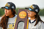 STILLWATER, OK -  Bianca Pagdanganan and Yu-Sang Hou pose with the NCAA National Championship trophy after winning the Division I Women's Golf Team Match Play Championship held at the Karsten Creek Golf Club on May 23, 2018 in Stillwater, Oklahoma. (Photo by Shane Bevel/NCAA Photos via Getty Images)