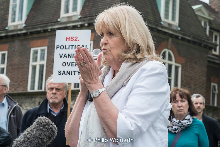 Cheryl Gillan MP.  Stop HS2 demonstration outside Parliament on the day of the second reading of the HS2 Hybrid Bill.