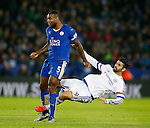 Wes Morgan of Leicester City and Diego Costa of Chelsea clash during the game - English Premier League - Leicester City vs Chelsea - King Power Stadium - Leicester - England - 14th December 2015 - Picture Simon Bellis/Sportimage