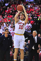 Jake Layman of the Terrapins shoots a 3 point shot. Maryland defeated Georgetown 75-71 during a game at Xfinity Center in College Park, MD on Wednesday, November 17, 2015.  Alan P. Santos/DC Sports Box