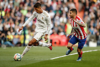 1st February 2020; Estadio Santiago Bernabeu, Madrid, Spain; La Liga Football, Real Madrid versus Atletico de Madrid; Raphael Varane (Real Madrid) turns arounf Saul of Atletico