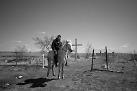 Daniel Kills Enemy on his horse in front of the Wounded Knee cemetery. Daniel is one of the new generation young Lakota, who thinks that his nation needs him more than the US government and do not plan to enroll in the army to proofs his manhood, as the old Lakota tradition requires.