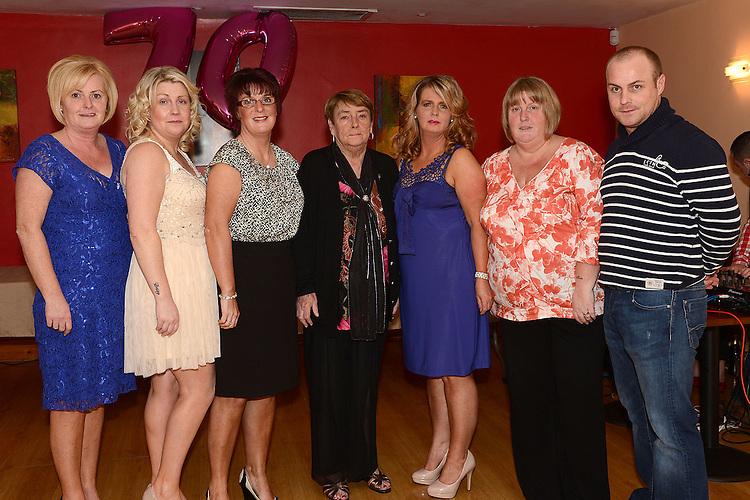 Pat Donaghy celebrating her 70th birthday in Tommy Hanratty's with daughters Paula, Shirley, Sandra, Linda, Gillian and son Anthony. Photo:Colin Bell/pressphotos.ie