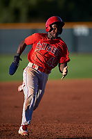 AZL Angels Julio De La Cruz (44) runs to third base during an Arizona League game against the AZL D-backs on July 20, 2019 at Salt River Fields at Talking Stick in Scottsdale, Arizona. The AZL Angels defeated the AZL D-backs 11-4. (Zachary Lucy/Four Seam Images)