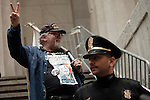 NEW YORK, NY - APRIL 20: Members of Occupy Wall Street gather on the steps of Federal Hall during a spring training protest on April 20, 2012 in New York City