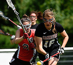 GER - Hannover, Germany, May 30: During the Women Lacrosse Playoffs 2015 match between DHC Hannover (black) and SC Frankfurt 1880 (red) on May 30, 2015 at Deutscher Hockey-Club Hannover e.V. in Hannover, Germany. Final score 23:3. (Photo by Dirk Markgraf / www.265-images.com) *** Local caption *** Elisabeth Benazir Lippert #2 of SC 1880 Frankfurt, Anna Blank #16 of DHC Hannover