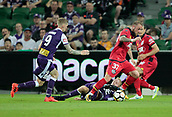 November 4th 2017, nib Stadium, Perth, Australia; A-League football, Perth Glory versus Adelaide United; Daniel Adlung from Adelaide United defends as Perth Glorys captain Andy Keogh comes in to tackle