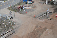 P&W Rail Crossing at the New Pearl Harbor Memorial Bridge Construction Site. View from Above, on Bridge Approach Deck under Construction. New Haven CT 8 April 2011