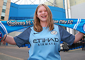30th September 2017, Stamford Bridge, London, England; EPL Premier League football, Chelsea versus Manchester City; Female Manchester City fan poses outside Stamford Bridge before kick off