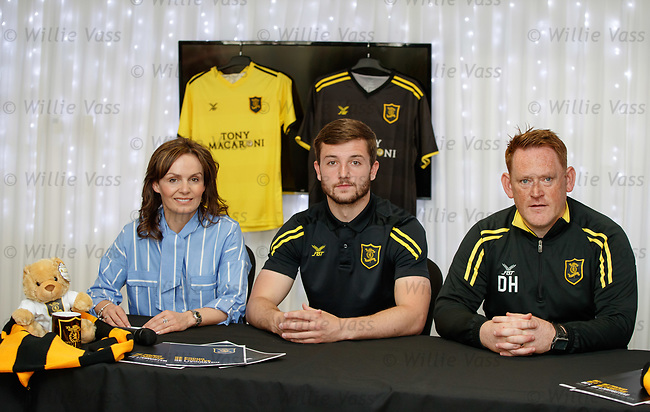 16.05.2018 Livingston FC training and presser: David Hopkin and Craig Halkett with Clair Stewart from Tony Macaroni who have extended their sponsorship of the club by another 3 years