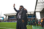 New Blackburn Rovers owners Balaji and Venkatesh Rao (right) waving to the crowd at Ewood Park before the club played host to Aston Villa in a Barclays Premier League match. Blackburn won the match by two goals to nil watched by a crowd of 21,848. It was Rovers' first match under the ownership of Indian company Venky's.
