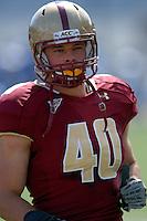 Boston College Eagles linebacker Luke Kuechly (#40) during a game versus the Duke Blue Devils on September 17, 2011 at Alumni Stadium in Chestnut Hill, Massachusetts. ( Ken Babbitt/Four Seam Images)