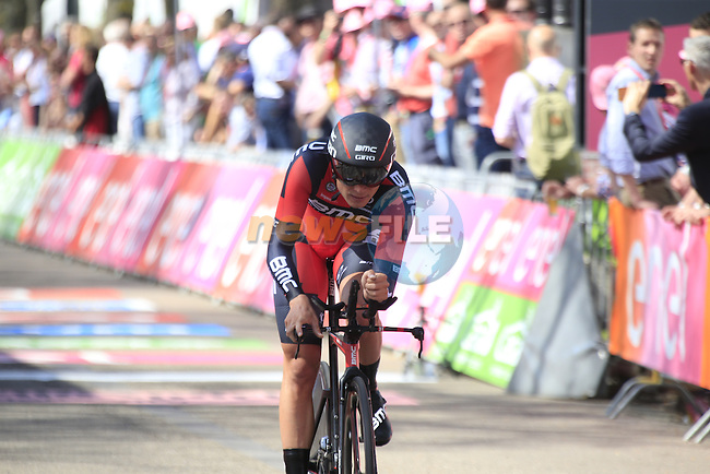 Rick Zabel (GER) BMC Racing Team crosses the finish line of Stage 1 of the 2016 Giro d'Italia, an individual time trial of 9.8km around Apeldoorn, The Nethrerlands. 6th May 2016.<br /> Picture: Eoin Clarke | Newsfile<br /> <br /> <br /> All photos usage must carry mandatory copyright credit (&copy; Newsfile | Eoin Clarke)