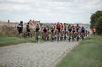 peloton riding the cobbles. <br /> <br /> 1st Great War Remembrance Race 2018 (UCI Europe Tour Cat. 1.1) <br /> Nieuwpoort &gt; Ieper (BE) 192.7 km