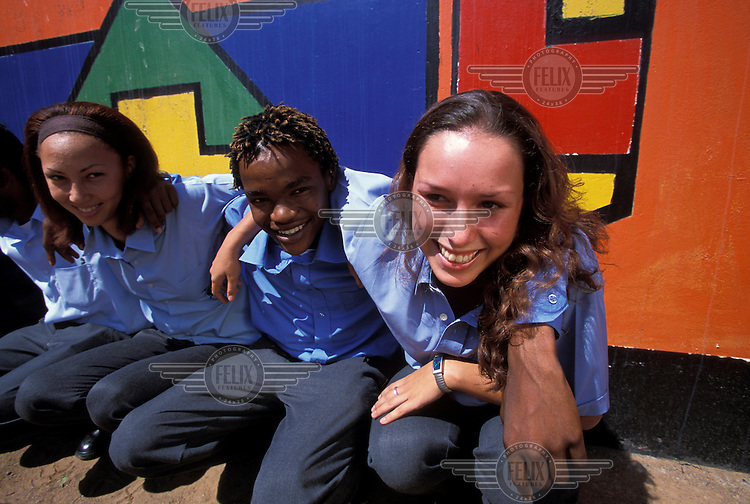 Pupils at a multiracial school.