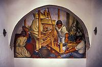 Mural depicting Mexican textile workers 1940 by Pedro Martinez, Bellas Artes, San Miguel de Allende, Mexico