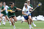 22 February 2015: Duke's Kerrin Maurer (9) and William & Mary's Zoe Boger (left). The Duke University Blue Devils hosted the College of William & Mary Tribe on the West Turf Field at the Duke Athletic Field Complex in Durham, North Carolina in a 2015 NCAA Division I Women's Lacrosse match. Duke won the game 17-7.