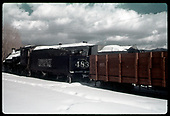 3/4 rear fireman's side view of C&amp;TS #483 K-36 and gondola #801 in Chama.<br /> C&amp;TS  Chama, NM