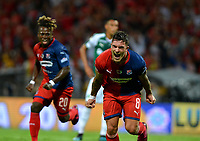 MEDELLÍN-COLOMBIA, 06-11-2019: Adrián Arregui de Deportivo Independiente Medellín celebra el gol que anotó a Deportivo Cali, durante partido de vuelta entre Deportivo Independiente Medellín y Deportivo Cali, por la final de la Copa Águila 2019, en el estadio Atanasio Girardot de la ciudad de Medellín. / Adrian Arregui of Deportivo Independiente Medellin celebrates the scored goal to Deportivo Cali, during a match of the second leg between Deportivo Independiente Medellin and Deportivo Cali, for the final of the Aguila Cup 2019 at the Atanasio Girardot stadium in Medellin city. / Photo: VizzorImage  / León Monsalve / Cont.