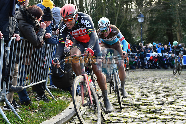 Philippe Gilbert (BEL) Lotto-Soudal and Silvan Dillier (SUI) AG2R La Mondiale climb the Muur van Geraardsbergen during Omloop Het Nieuwsblad 2020, Belgium. 29th February 2020.<br /> Picture: Serge Waldbillig/cyclingpix.lu | Cyclefile<br /> <br /> All photos usage must carry mandatory copyright credit (© Cyclefile | cyclingpix.lu/Serge Waldbillig)