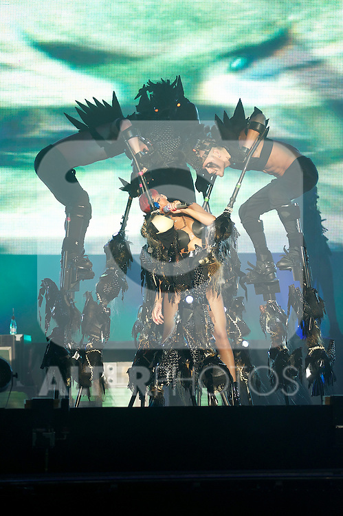 Singer Rihanna performs on stage during Rock in Rio Festival on June 5, 2010 in Arganda del Rey, Spain....Photo: Billy Chappel / ALFAQUI