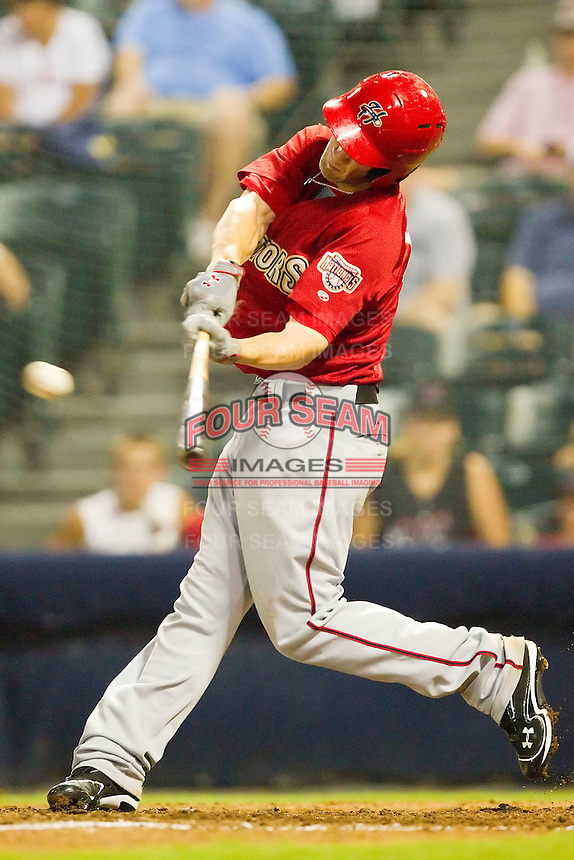 Bryce Harper #34 of the Harrisburg Senators makes contact with the baseball against the Richmond Flying Squirrels in game two of a double-header at The Diamond on July 22, 2011 in Richmond, Virginia.  The Senators defeated the Flying Squirrels 1-0.   (Brian Westerholt / Four Seam Images)