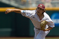 Mississippi State pitcher Kendall Graveman (49) follows through on his delivery during Game 11 of the 2013 Men's College World Series against the Oregon State Beavers on June 21, 2013 at TD Ameritrade Park in Omaha, Nebraska. The Bulldogs defeated the Beavers 4-1, to reach the CWS Final and eliminating Oregon State from the tournament. (Andrew Woolley/Four Seam Images)