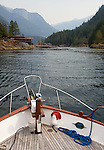Malibu camp is seen from the bow of a small boat as it approaches the narrow and treacherous Malibu Rapids along the coast of British Columbia.