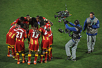 The Ghana players huddle up at half time. USA vs Ghana in the 2010 FIFA World Cup at Royal Bafokeng Stadium in Rustenburg, South Africa on June 26, 2010.