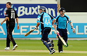 30.8.10 - CB40 Cricket - Warwickshire Bears V Scottish Saltires at Edgbaston - Scottish Saltire (and Tasmananian) batsman George Bailey (right) and Greenock's Richie Berrington complete a run (here off the bowling of Rikki Clarke, left) on their way to a 198 partnership, a maiden Scottish century for Bailey (123 runs), and and 82 run contribution from Berrington - Picture by Donald MacLeod - mobile 07702 319 738 - clanmacleod@btinternet.com - words if required from William Dick 077707 839 23