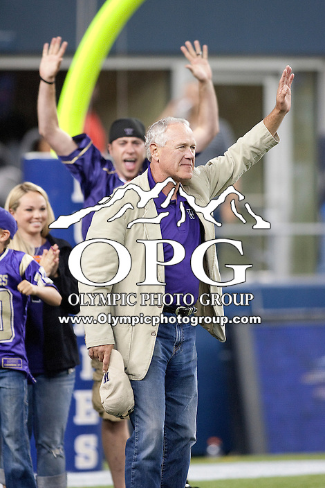 Sept 01, 2012:  Washington Husky Legion Dick Baird  was honored during the third quarter of the game against San Diego State.  Washington defeated San Diego State 21-12 at CenturyLink Field in Seattle, Washington...