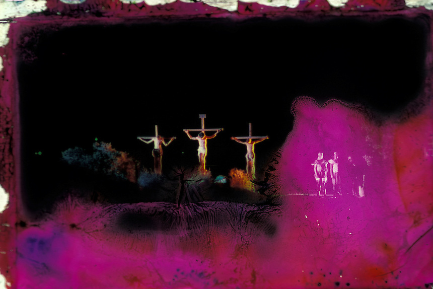 The crucifixion of Christ is depicted for a live audience in 1995 at a recreation in Utah of the Hill Cumorah Pageant, which is put on annually in New York by the Church of Jesus Christ of Latter-day Saints. A historical photo, damaged artistically by flooding caused by Hurricane Sandy in October, 2012.