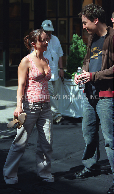 Christina Ricci and Jimmy Fallon from SNL on the set of Woody Allen's new movie on Bleecker Street in the West Village, New York. June 28, 2002. Please byline: Alecsey Boldeskul/NY Photo Press.   ..*PAY-PER-USE*      ....NY Photo Press:  ..phone (646) 267-6913;   ..e-mail: info@nyphotopress.com