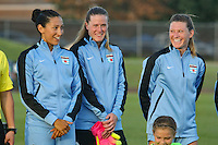 Piscataway, NJ - Saturday Aug. 27, 2016: Christen Press, Alyssa Naeher, Arin Gilliland prior to a regular season National Women's Soccer League (NWSL) match between Sky Blue FC and the Chicago Red Stars at Yurcak Field.